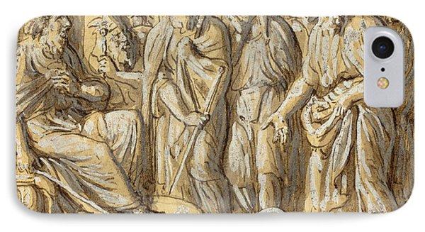 Luigi Ademollo, Italian 1764-1849, Moses And Aaron IPhone Case by Litz Collection