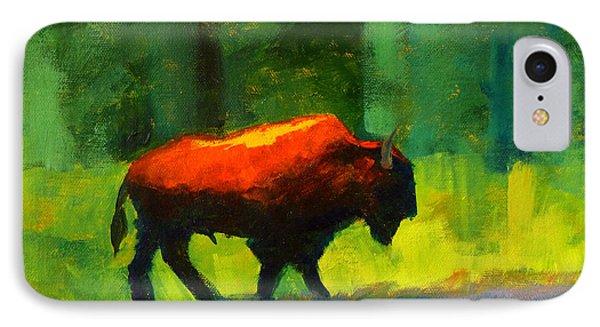 Bison iPhone 7 Case - Lumbering by Nancy Merkle