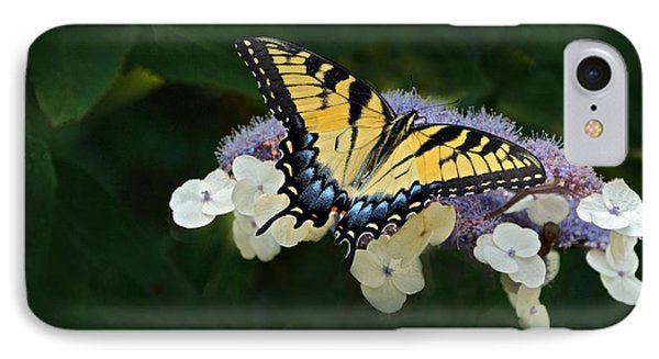 Luminous Butterfly On Lacecap Hydrangea Phone Case by Byron Varvarigos