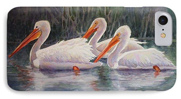 Luminous White Pelicans IPhone Case by Roxanne Tobaison