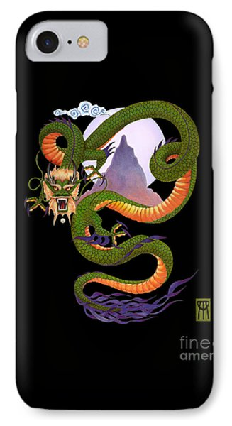 Dragon iPhone 7 Case - Lunar Chinese Dragon On Black by Melissa A Benson