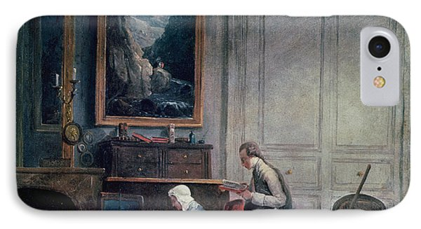 Lunch Of Madame Geoffrin Oil On Canvas IPhone Case by Hubert Robert