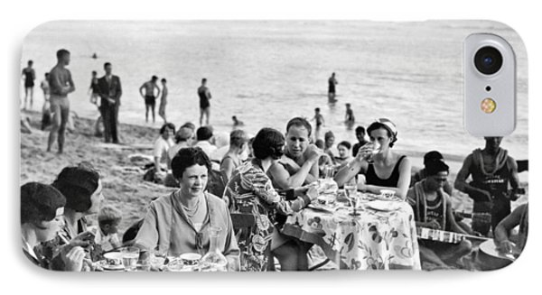 Lunch On Waikiki Beach IPhone Case by Underwood Archives