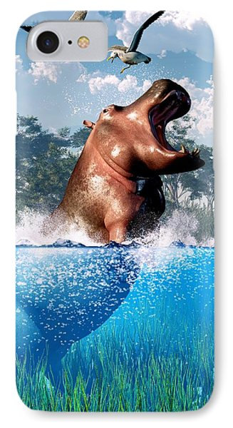 Lunging Hippo  IPhone Case