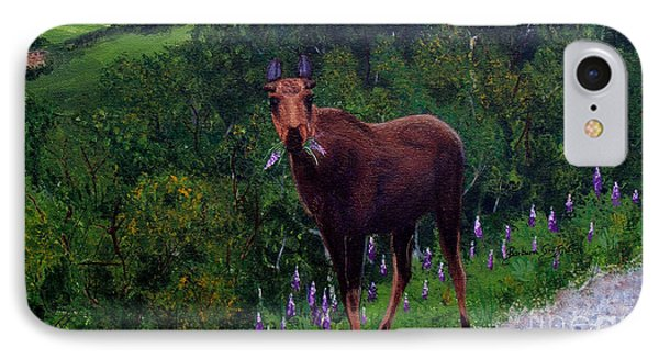 IPhone Case featuring the painting Lupine Loving Moose by Barbara Griffin