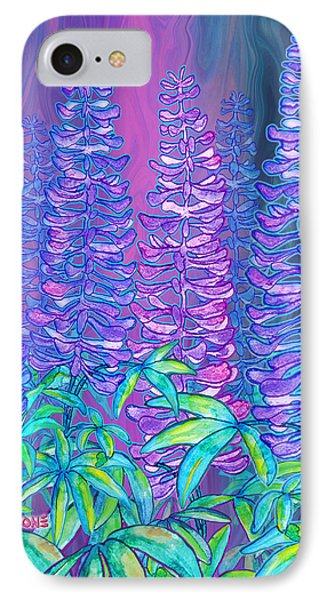 IPhone Case featuring the mixed media Lupines by Teresa Ascone
