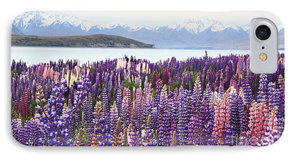 IPhone 7 Case featuring the photograph Lupins At Tekapo by Nareeta Martin