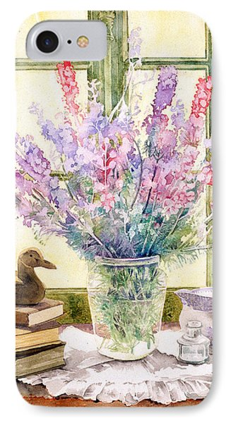 Lupins On Windowsill Phone Case by Julia Rowntree