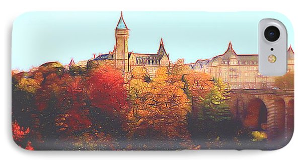 IPhone Case featuring the digital art Luxembourg City Skyline by Dennis Lundell