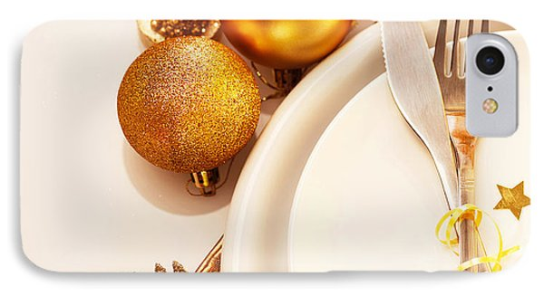 Luxury Christmas Table Setting Phone Case by Anna Om