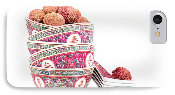 Lychees In Bowls With Spoons Phone Case by Jane Rix