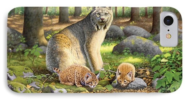 Lynx And Kittens IPhone Case by Chris Heitt