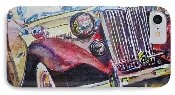 IPhone Case featuring the painting M G Car  by Anna Ruzsan