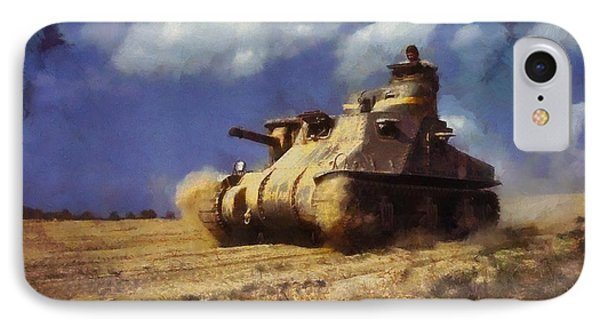 IPhone Case featuring the painting M3 Lee Tank by Kai Saarto