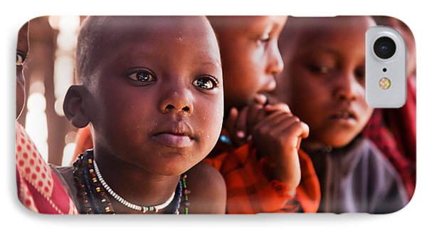 Maasai Children In School In Tanzania IPhone Case by Michal Bednarek