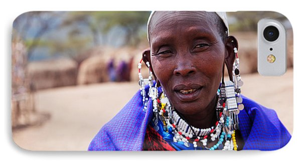 Maasai Woman Portrait In Tanzania IPhone Case by Michal Bednarek