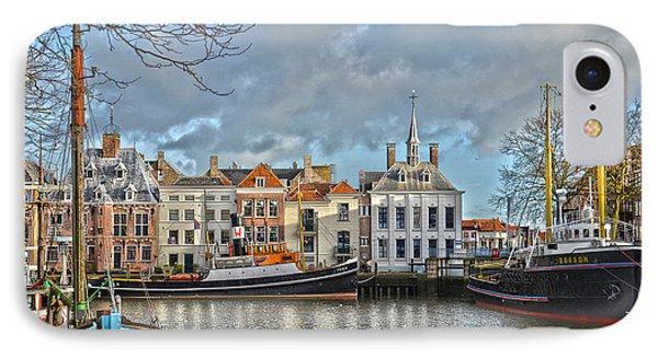 IPhone Case featuring the photograph Maassluis Harbour by Frans Blok