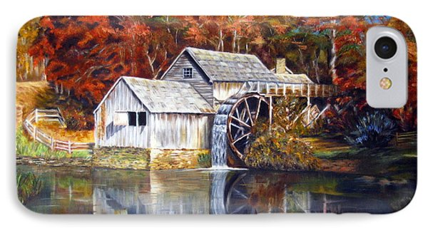 IPhone Case featuring the painting Mabry Mill Blue Ridge Virginia by LaVonne Hand