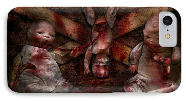 Macabre - Dolls - Having A Friend For Dinner Phone Case by Mike Savad