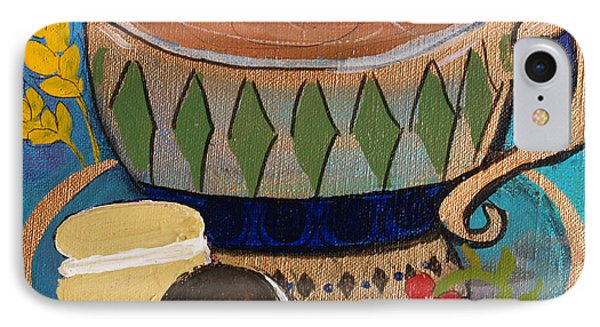 IPhone Case featuring the painting Macaroons And Tea by Robin Maria Pedrero