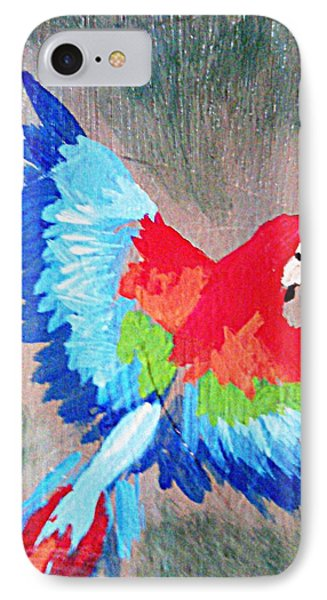 Macaw In Flight IPhone Case by Loretta Nash
