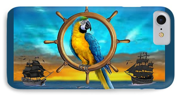 Macaw Pirate Parrot IPhone Case by Glenn Holbrook