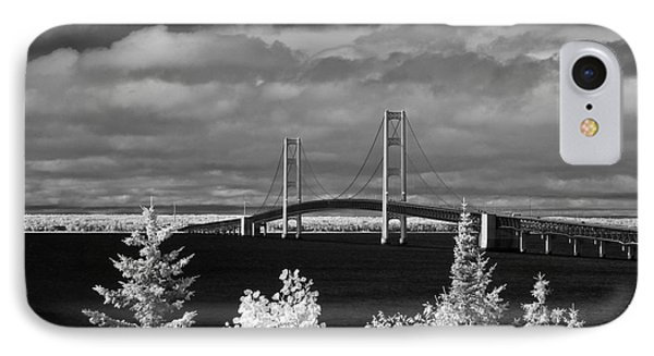 Macinac Bridge - Infrared IPhone Case by Larry Carr