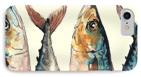 Mackerel Fishes IPhone 7 Case by Juan  Bosco