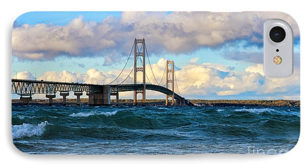 Mackinac Among The Waves IPhone Case by Rachel Cohen