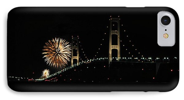 Mackinac Bridge 50th Anniversary Fireworks IPhone Case