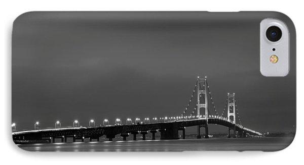 Mackinac Bridge Black And White Phone Case by Sebastian Musial