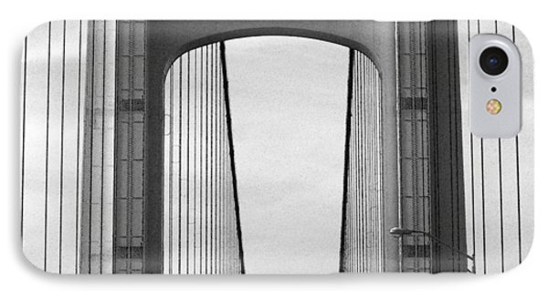 Mackinac Bridge Detail 2 Bw IPhone Case by Mary Bedy