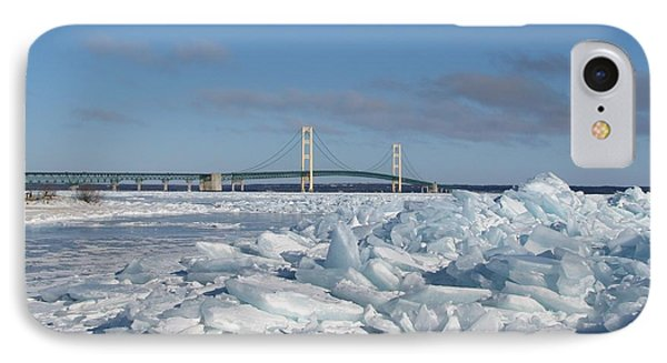 Mackinac Bridge With Ice Windrow IPhone Case