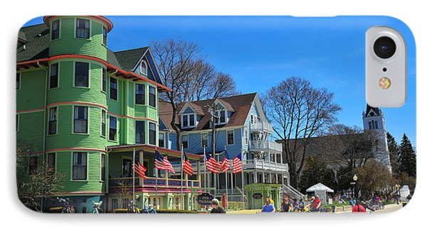 Mackinac Island Waterfront Street IPhone Case by Terri Gostola