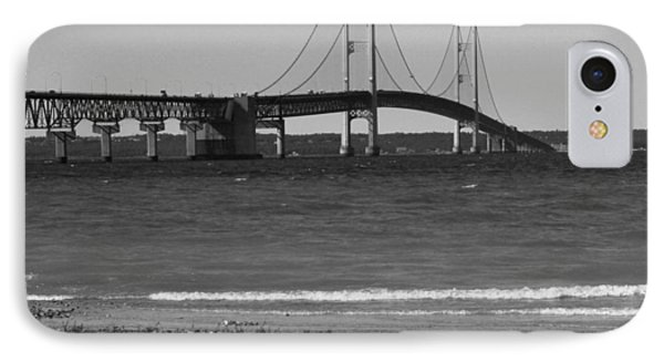 IPhone Case featuring the photograph Mackinaw Bridge Black And White by Bill Woodstock