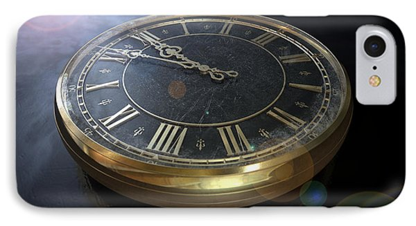 Macro Antique Watch Midnight IPhone Case by Allan Swart