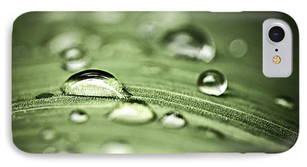 Macro Raindrops On Green Leaf IPhone Case by Elena Elisseeva