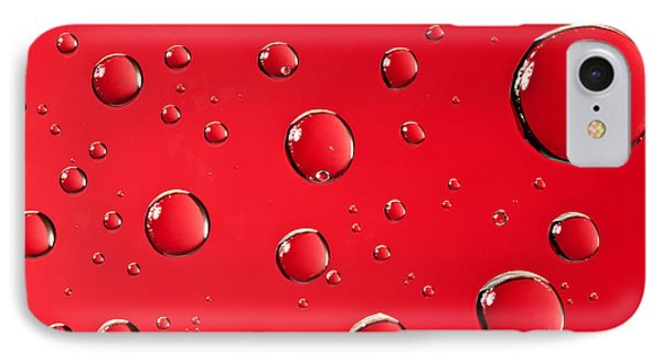 Macro Water Drop On Red Phone Case by Sharon Dominick