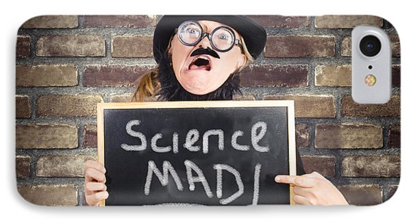 Mad Scientist Showing Blank Science Diagram IPhone Case by Jorgo Photography - Wall Art Gallery