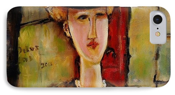 Madame Pompador As A Tribute To Modigliani IPhone Case by Jean Cormier