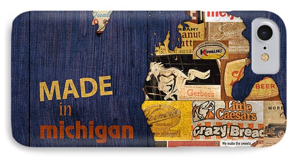 Made In Michigan Products Vintage Map On Wood Phone Case by Design Turnpike