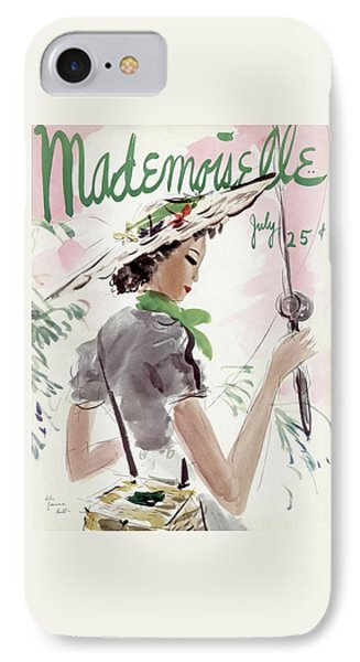 Mademoiselle Cover Featuring A Woman Holding IPhone Case by Helen Jameson Hall