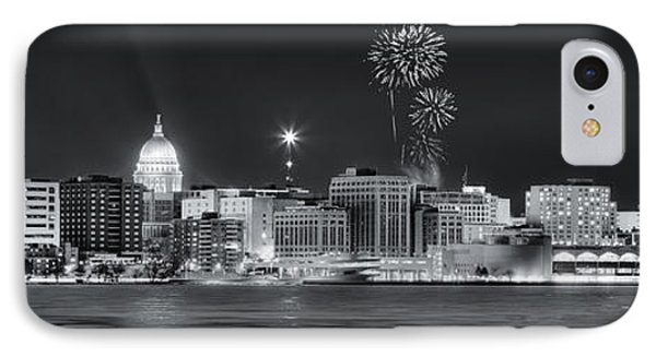 Madison - Wisconsin -  New Years Eve Panorama Black And White IPhone Case by Steven Ralser