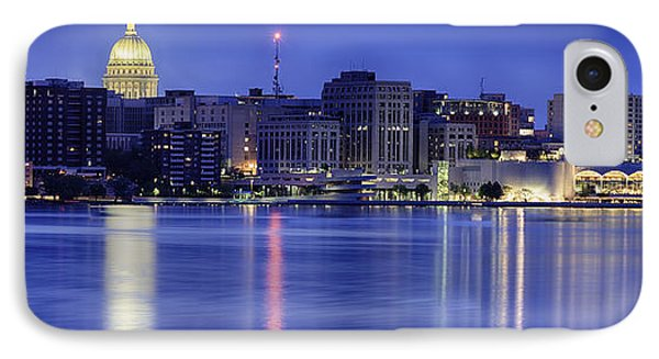 IPhone Case featuring the photograph Madison Skyline Reflection by Sebastian Musial