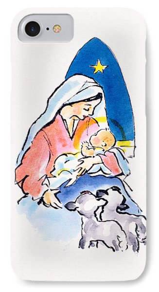 Madonna And Child With Lambs, 1996  IPhone Case by Diane Matthes