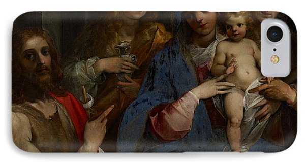 Madonna And Child With Saints John The Baptist With Mary Magdalene And Anne IPhone Case by Guiseppe Cesari