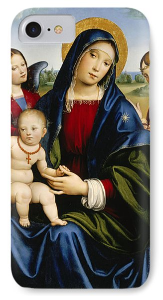 Madonna And Child With Two Angels IPhone Case by Francesco Francia