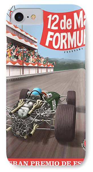 Madrid Grand Prix 1968 IPhone Case by Georgia Fowler