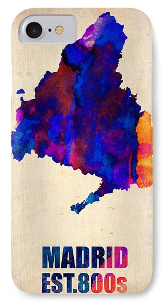 Madrid Watercolor Map Phone Case by Naxart Studio