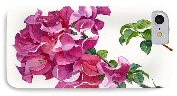 Magenta Colored Bougainvillea With Leaves IPhone Case